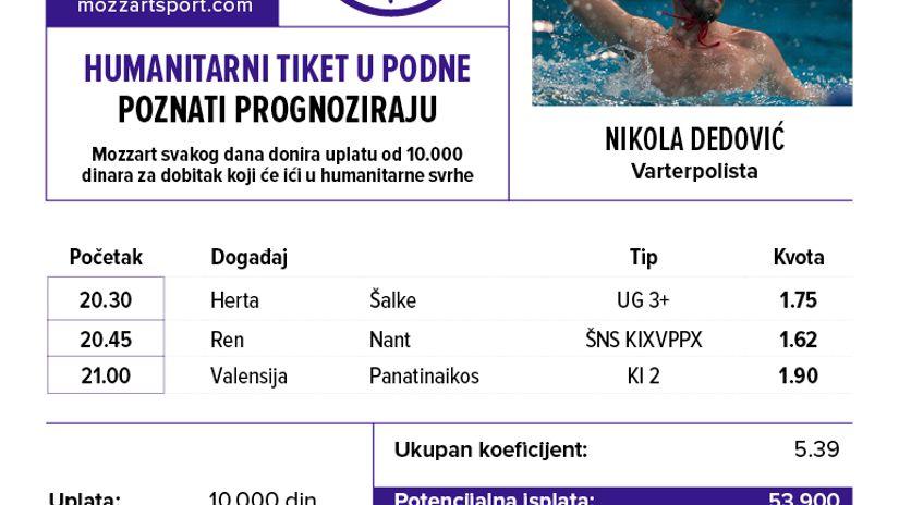 Humanitarni tiket u podne: Nikola Dedović tipuje za lečenje dečaka Konstantina Jankovića